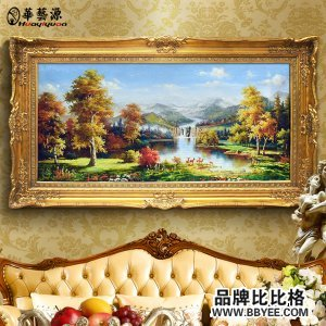 欧式手绘风景油画美式玄关壁画客厅装饰画手工山水有