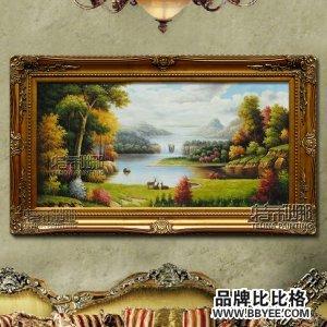 欧式手绘油画客厅山水风景油画
